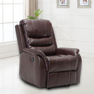 Ardis Leather Manual No Motion Recliner Upholstery: Brown