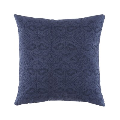 Gudruna Embroidered Floral Cotton Throw Pillow Color: Navy
