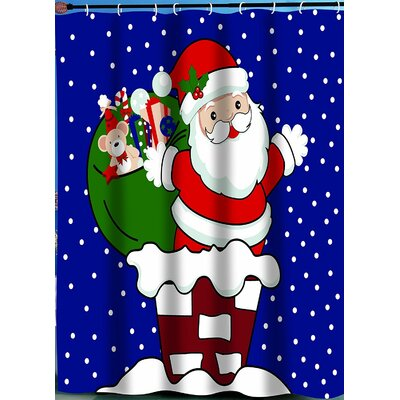 Up On The Roof Santa Claus Christmas Shower Curtain