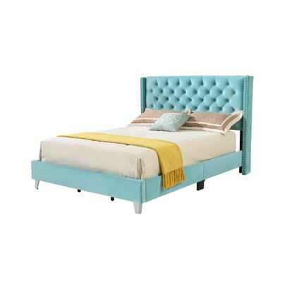 Connolly Upholstered Panel Bed Size: Full, Color: Ocean Blue