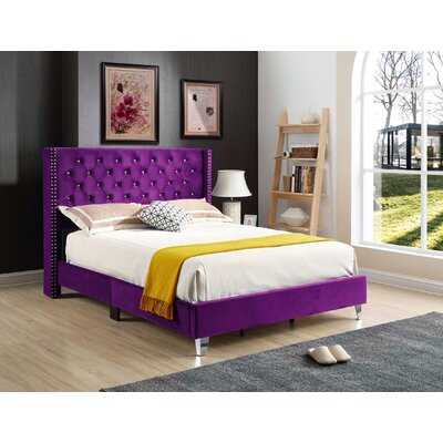 Connolly Upholstered Panel Bed Size: King, Color: Purple