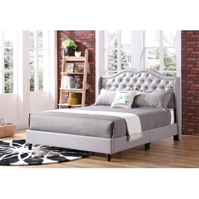 Cobbett Upholstered Panel Bed Size: King, Color: Gray