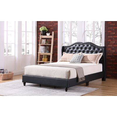 Cobbett Upholstered Panel Bed Size: Full/Double, Color: Black