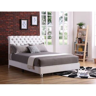 Loc Tufted Upholstered Panel Bed Color: White, Size: Queen