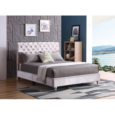 Loc Tufted Upholstered Panel Bed Color: Khaki, Size: Full/Double