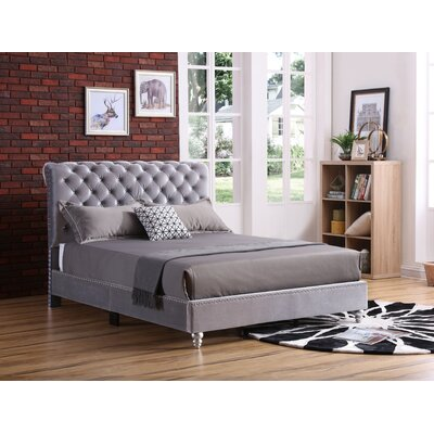 Loc Tufted Upholstered Panel Bed Color: Smoke Gray, Size: Full/Double