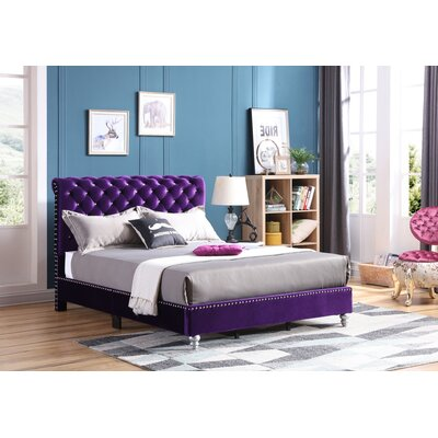 Loc Tufted Upholstered Panel Bed Color: Purple, Size: King