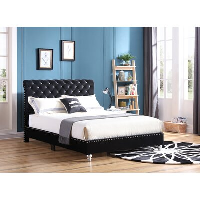 Loc Tufted Upholstered Panel Bed Color: Black, Size: King