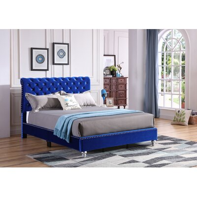 Loc Tufted Upholstered Panel Bed Color: Cobalt Blue, Size: Queen
