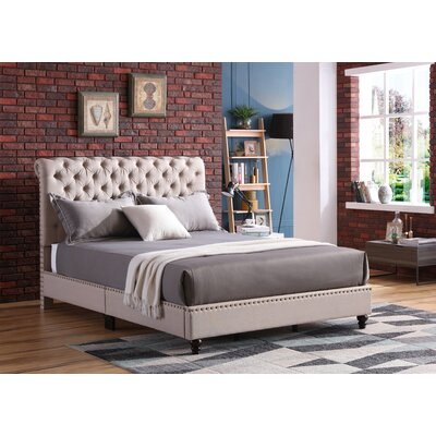 Loc Tufted Upholstered Panel Bed Color: Tan, Size: King