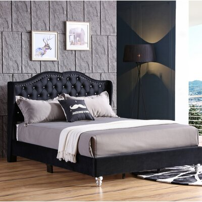 Colbourne Upholstered Panel Bed Size: Queen, Color: Black