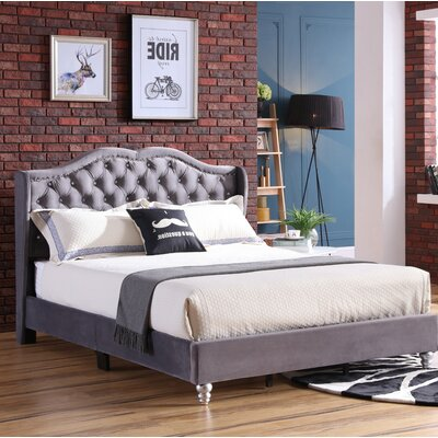 Colbourne Upholstered Panel Bed Size: Queen, Color: Gray