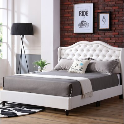 Cobbett Upholstered Panel Bed Size: King, Color: White