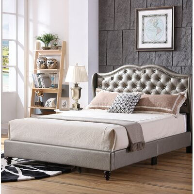 Cobbett Upholstered Panel Bed Size: King, Color: Silver