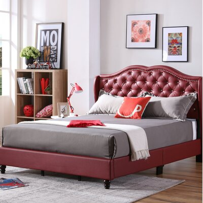 Cobbett Upholstered Panel Bed Size: Queen, Color: Red