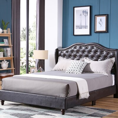 Cobbett Upholstered Panel Bed Size: King, Color: Cappuccino