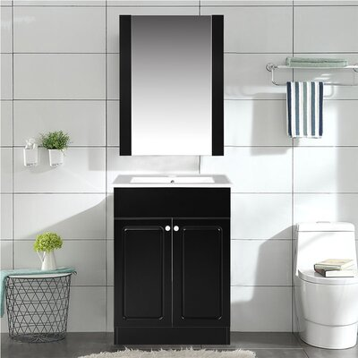 Henderson 24 Single Bathroom Vanity Set with Mirror Base Finish: Black