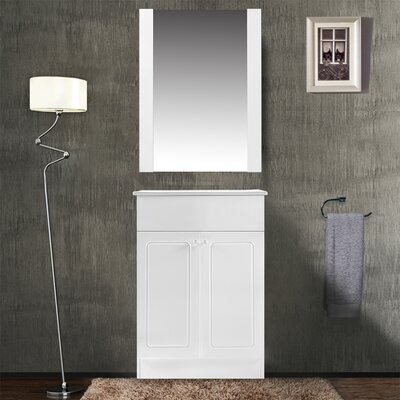 Henderson 24 Single Bathroom Vanity Set with Mirror Base Finish: White