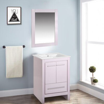 Babington 24 Single Bathroom Vanity Set with Mirror Base Finish: White