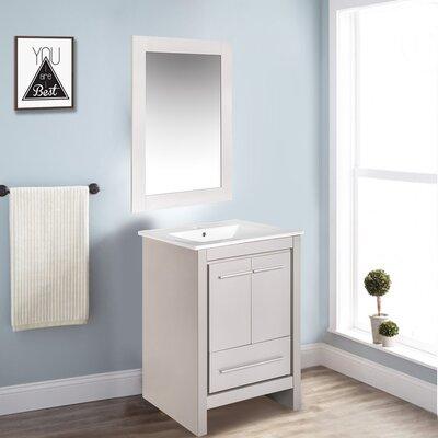 Babington 24 Single Bathroom Vanity Set with Mirror Base Finish: Gray