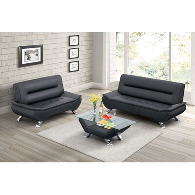 Normanson 2 Piece Living Room Set Upholstery: Black
