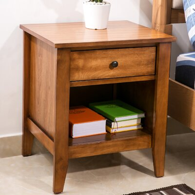 Garmon 1 Drawer Nightstand Color: Brown