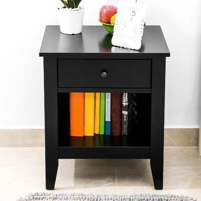 Garmon 1 Drawer Nightstand Color: Black