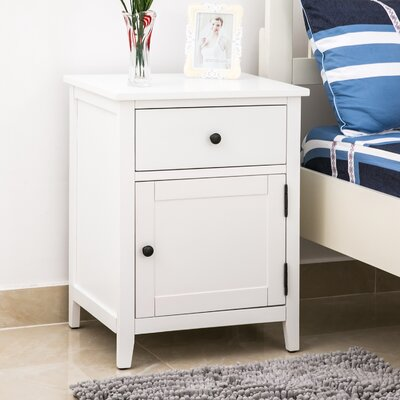 Chantay 1 Drawer Nightstand Color: White