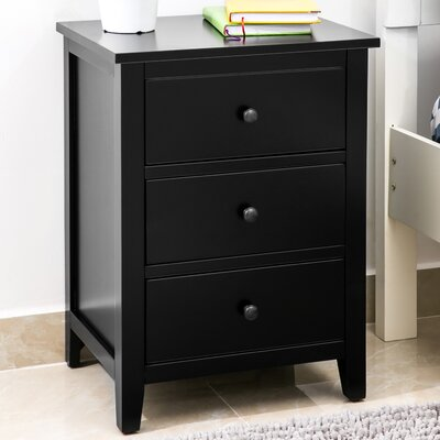 Chantalle 3 Drawer Nightstand Color: Black