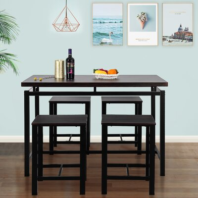 Weatherholt 5 Piece Pub Table Set Color: Espresso