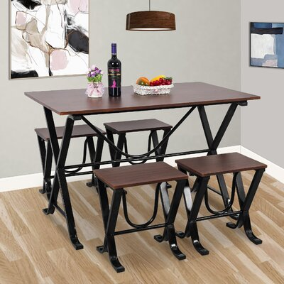 Stengel 5 Piece Dining Set Color: Espresso