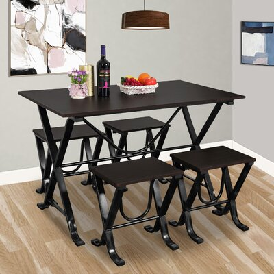 Stengel 5 Piece Dining Set Color: Brown