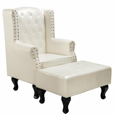 Noran Upholstered Arm Chair and Ottoman Upholstery: White