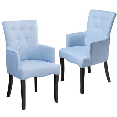 Almon Upholstered Dining Chair Color: Blue