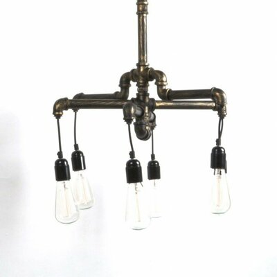 Rashard Metal Water Pipe 6-Light Kitchen Island Pendant