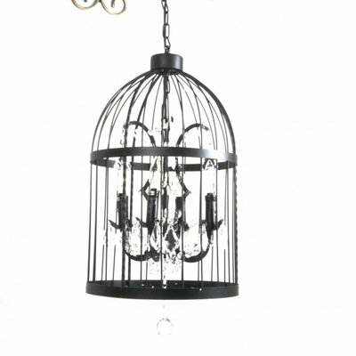 Lorretta Metal Cage Shaped 4-Light Candle-Style Chandelier