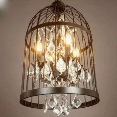 Mickey Metal Cage Shaped 4-Light Candle-Style Chandelier