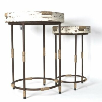 Dornley Wood/Metal 2 Piece Round Serving End Table Set