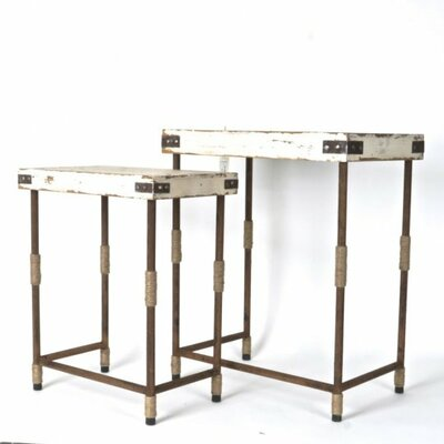 Clion Wood/Metal 2 Piece End Table Set