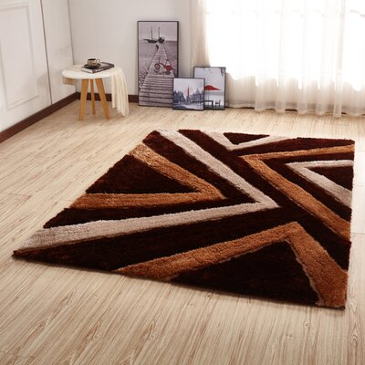Kleiber Contemporary Shaggy 3D Brown Area Rug