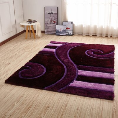 Kleiber Shaggy 3D Purple/Pink Area Rug