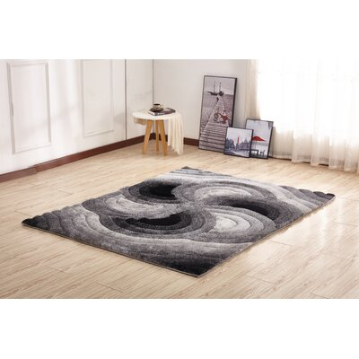 Kleiber Geometric Shaggy 3D Gray/Black Area Rug