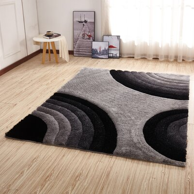 Kleiber Shaggy 3D Gray/Black Area Rug