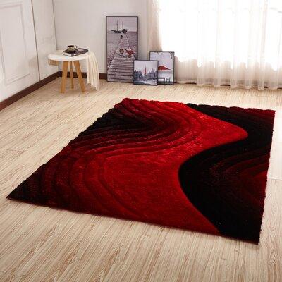 Kleiber Shaggy 3D Red/Black Area Rug