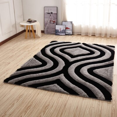 Kleiber Shaggy 3D Rectangle Gray/Black Area Rug