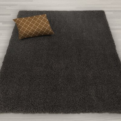 Kleiman Shaggy Solid Dark Gray Area Rug Rug Size: Rectangle 8 x 10