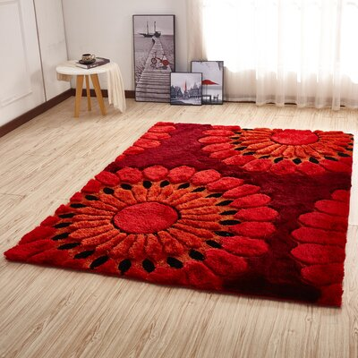 Kleiber Shaggy 3D Red Area Rug