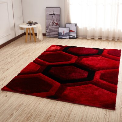 Kleiber Modern Shaggy 3D Red/Black Area Rug
