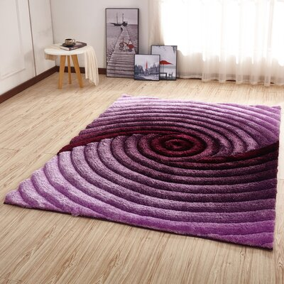 Kleiber Shaggy 3D Purple Area Rug