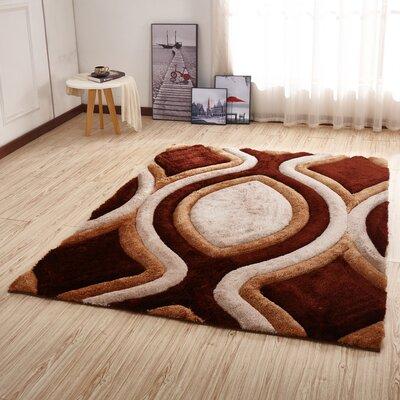 Kleiber Modern Shaggy 3D Brown/Ivory Area Rug
